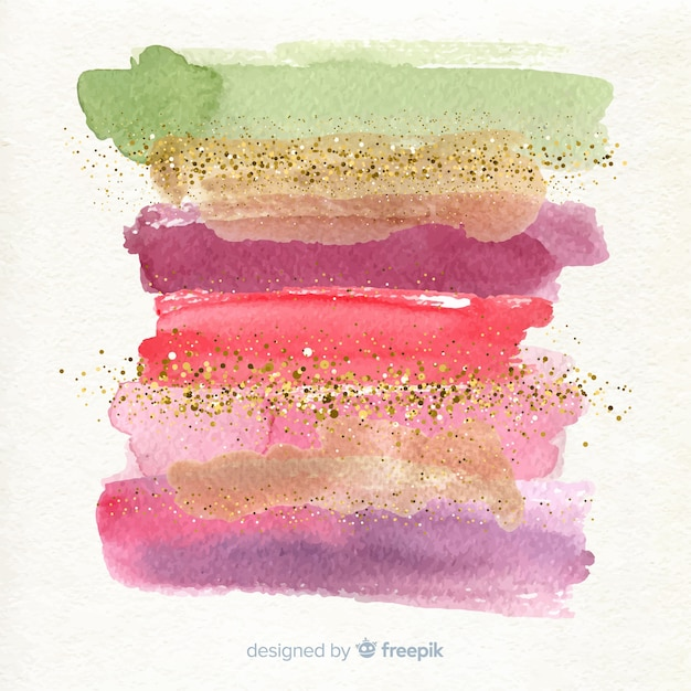 Watercolor stripes with glitter background Free Vector