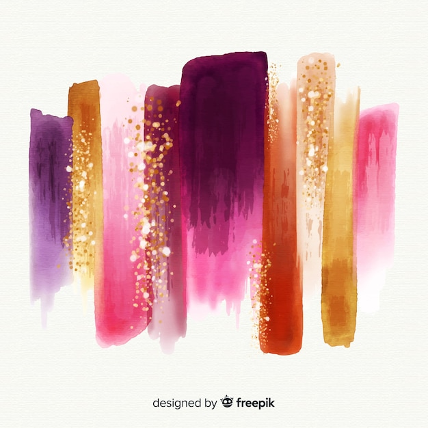 Watercolor stroke with glitter Free Vector