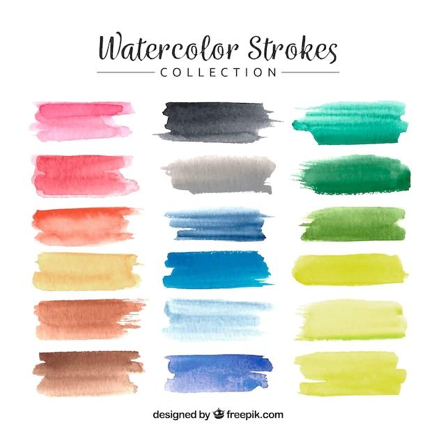 Watercolor strokes collection Free Vector