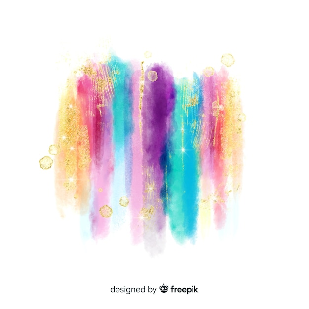 Watercolor strokes with glitter Free Vector