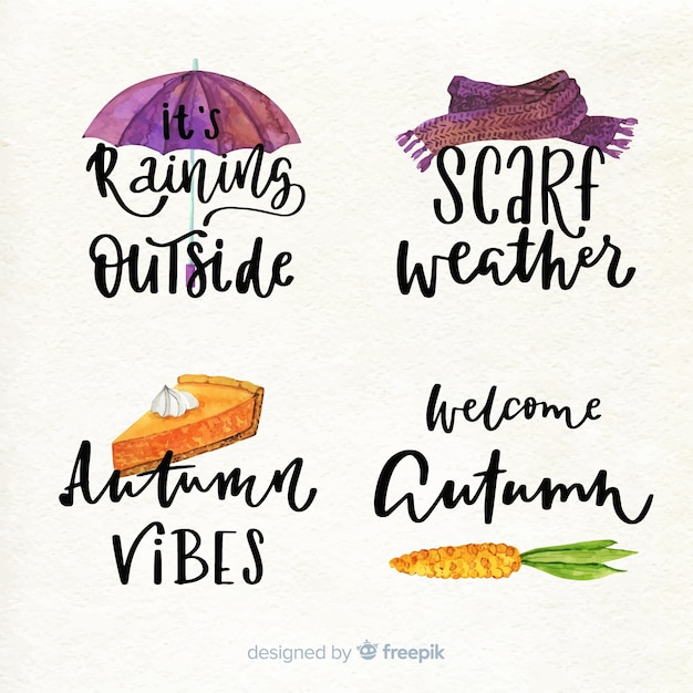 Watercolor style autumn badge collection Free Vector