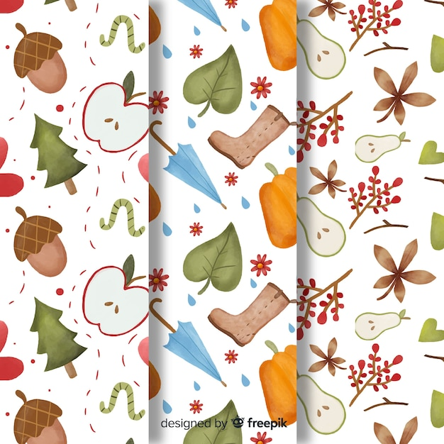 Watercolor style autumn pattern collection Free Vector