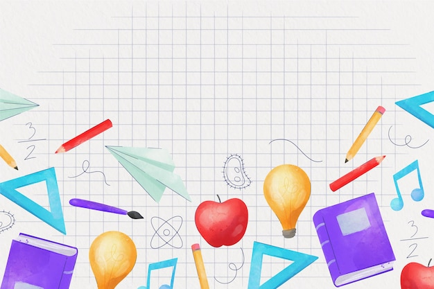 Watercolor style back to school background Free Vector