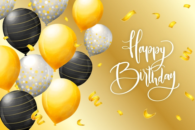Watercolor style birthday background Free Vector