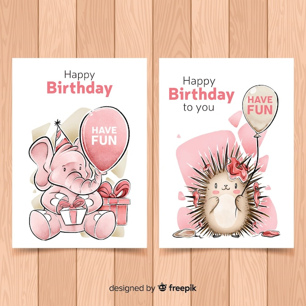 Watercolor style birthday card collection Free Vector