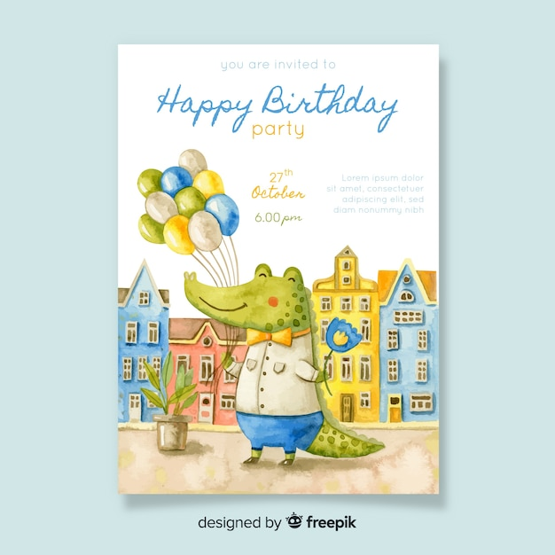 Watercolor style birthday invitation template Free Vector