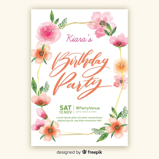Watercolor style birthday invitation template Free Vector