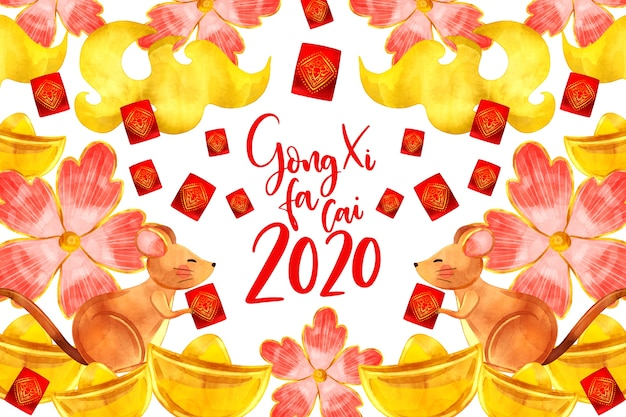 Watercolor style chinese new year with flowers Free Vector