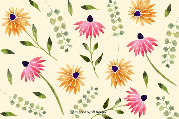 Watercolor style floral background Free Vector