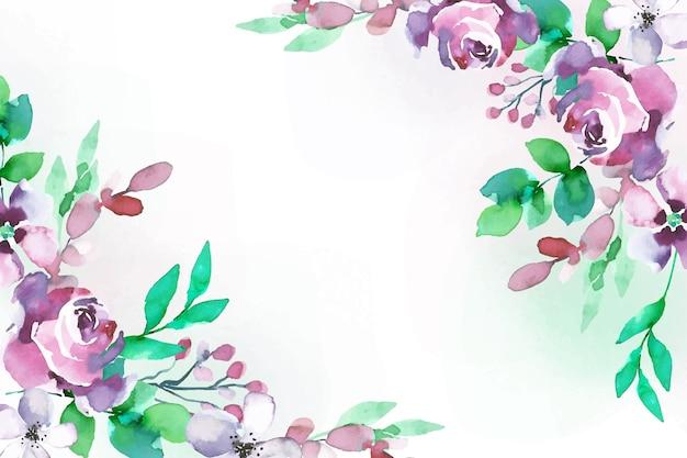 水彩風の花の背景 無料ベクター