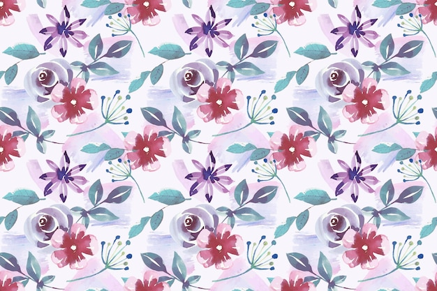 Motivo floreale in stile acquerello Vettore gratuito