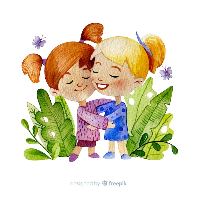 Watercolor style friendship day background Free Vector