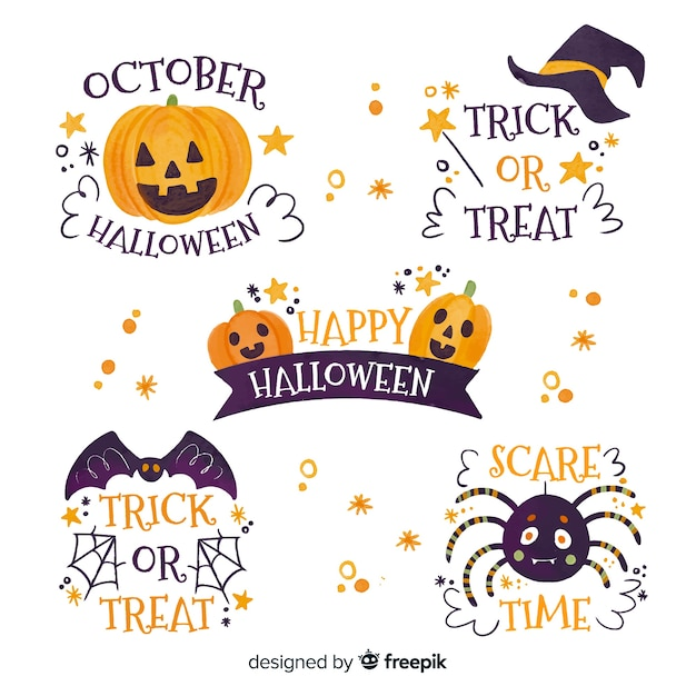 Watercolor style halloween badge collection Free Vector