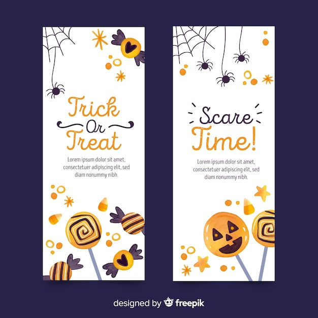Watercolor style halloween banners template Free Vector