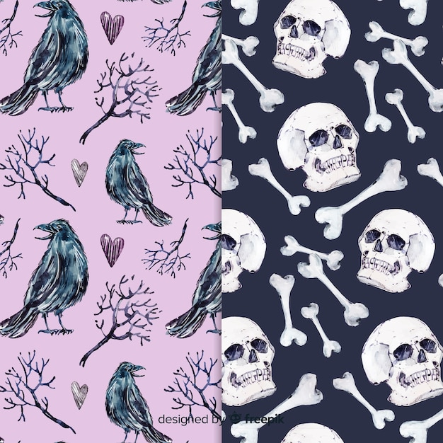 Watercolor style halloween pattern collection Free Vector