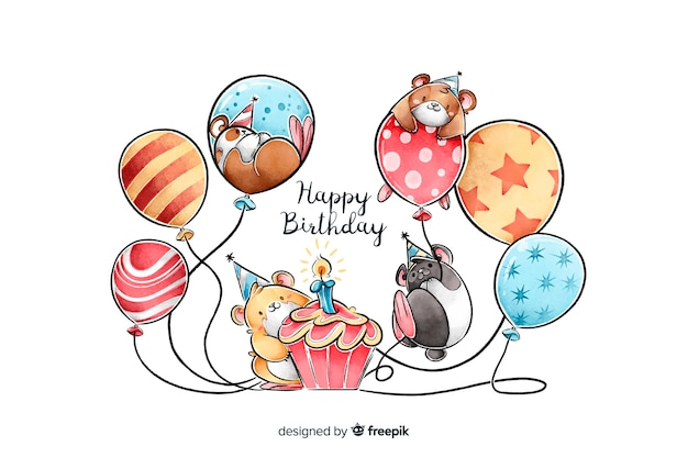 Watercolor style happy birthday background Free Vector