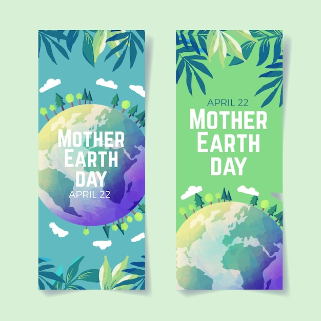 Watercolor style mother earth day banner Free Vector