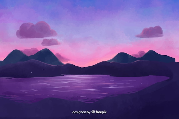 Watercolor style natural landscape background Free Vector