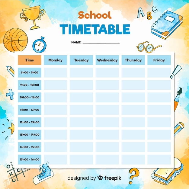Watercolor style school timetable template Free Vector