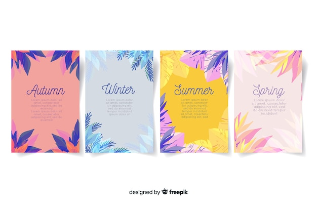 Watercolor style seasonal poster collection Free Vector