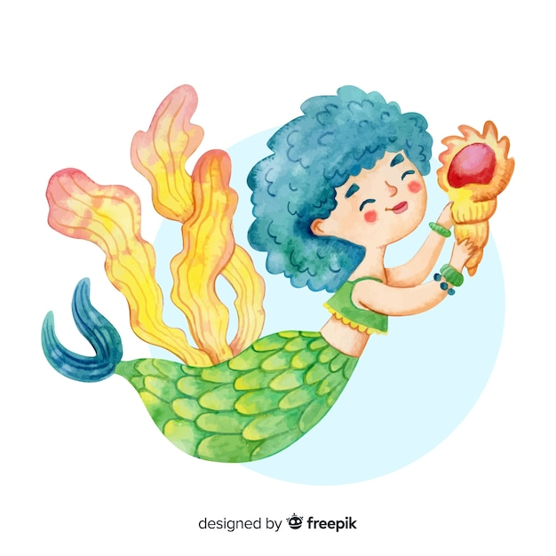 Watercolor style smiling mermaid character Free Vector