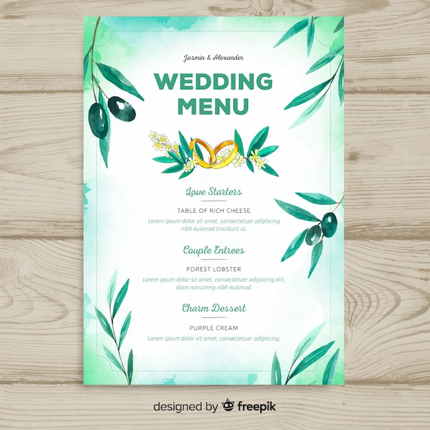 Watercolor style wedding menu template Free Vector