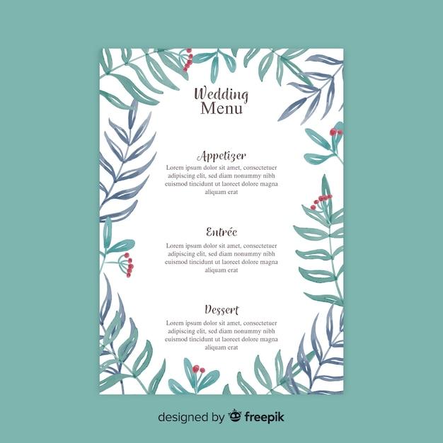 Watercolor style wedding menu template Free Vector