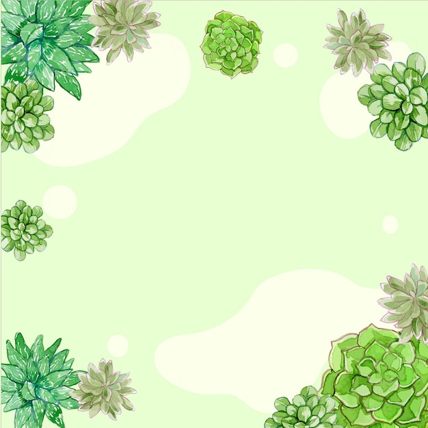 Watercolor succulents simple background and frame Premium Vector