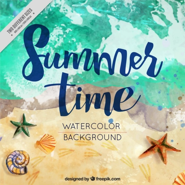 Watercolor Summer Background In The Beach Vector