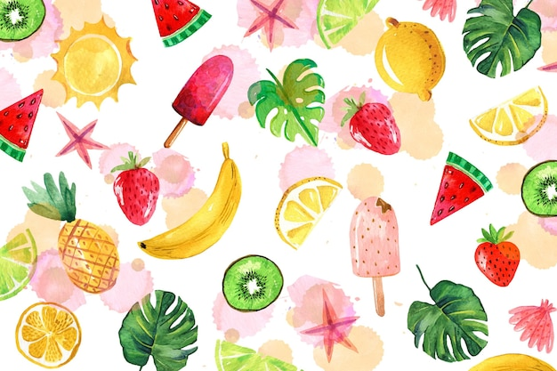 Watercolor summer background theme Free Vector