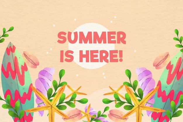 水彩夏の背景 無料ベクター