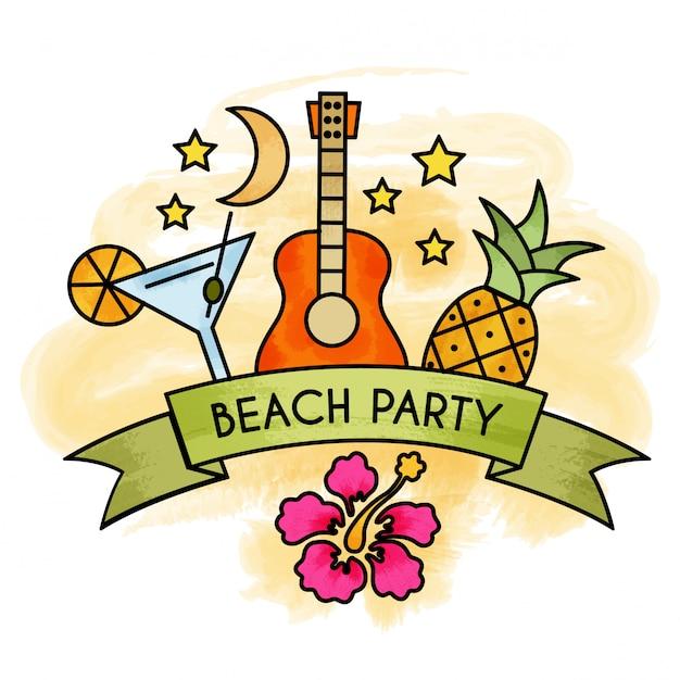 Watercolor summer beach party banner. Premium Vector