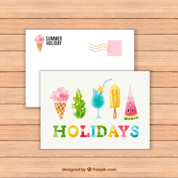 watercolor summer card template with ice cream and cocktails vector