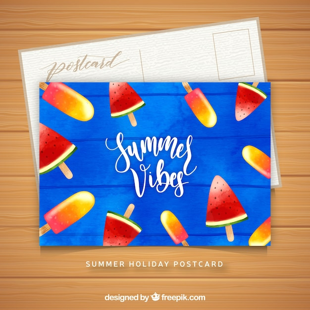 watercolor summer card template with ice cream vector free download