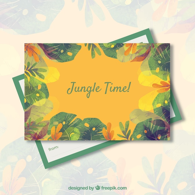 Watercolor Summer Card Template With Jungle Theme Vector Free Download