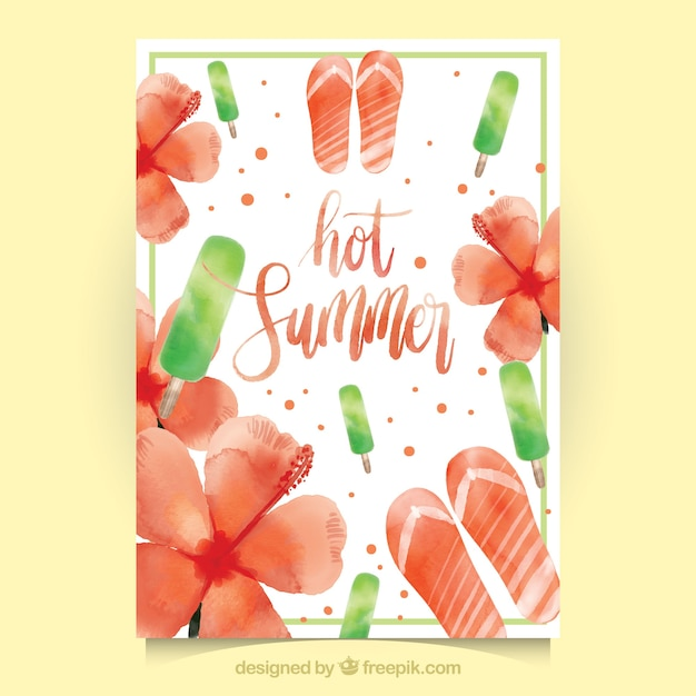 Watercolor summer card with flowers and flip\ flops