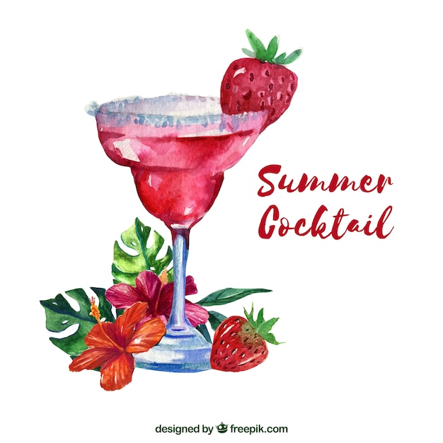 Watercolor summer cocktail background Free Vector