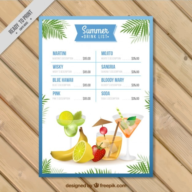 Watercolor summer drink list template