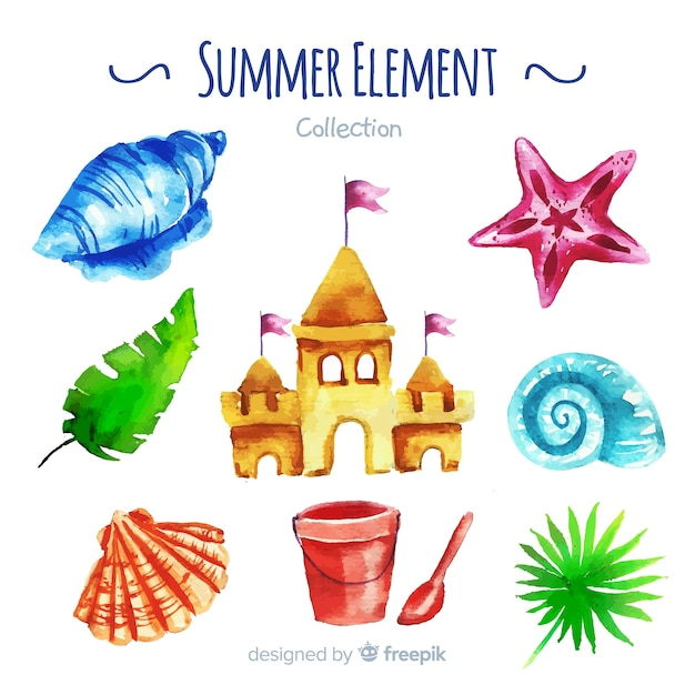 Watercolor summer element collection Free Vector