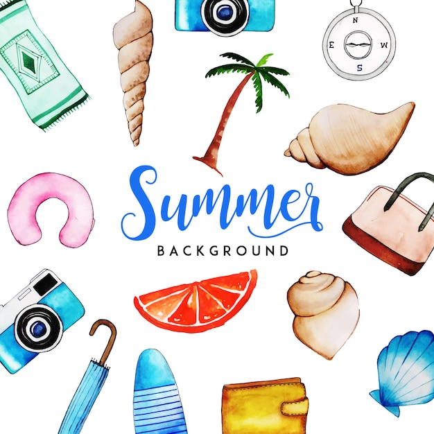 Watercolor summer elements multipurpose background Free Vector