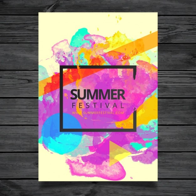 Watercolor Summer Festival Poster Template Vector Free Download