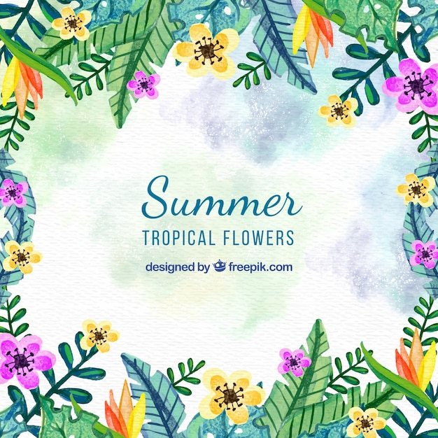 Watercolor summer floral background Free Vector
