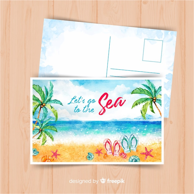 Watercolor summer holiday postcard Free Vector