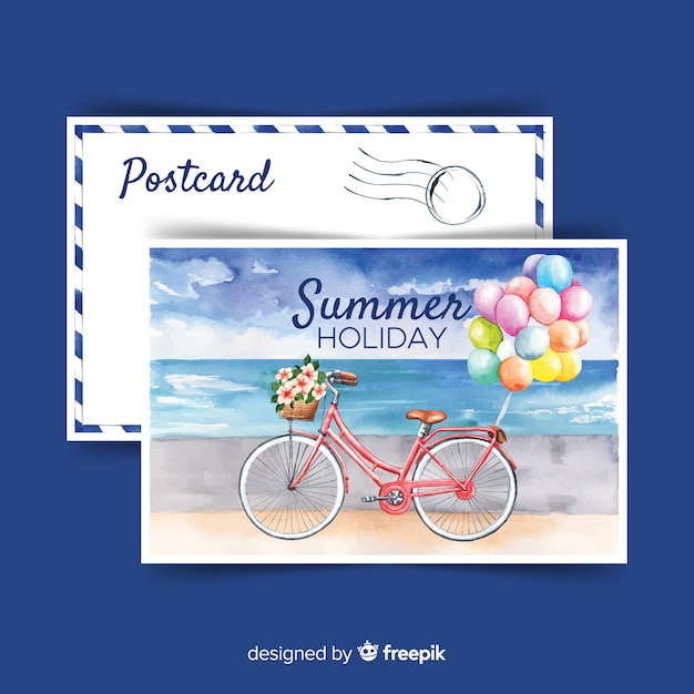 Watercolor summer holiday postcard Free Vector