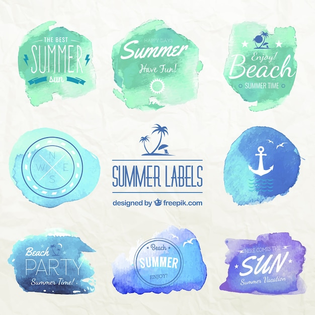 Watercolor summer labels Free Vector