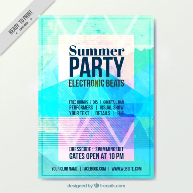Watercolor Summer Party Flyer Template Vector