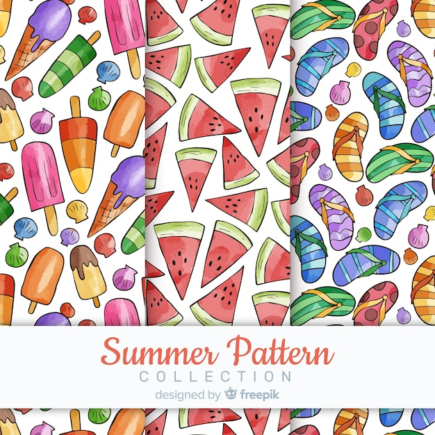 Watercolor summer pattern collectio Free Vector