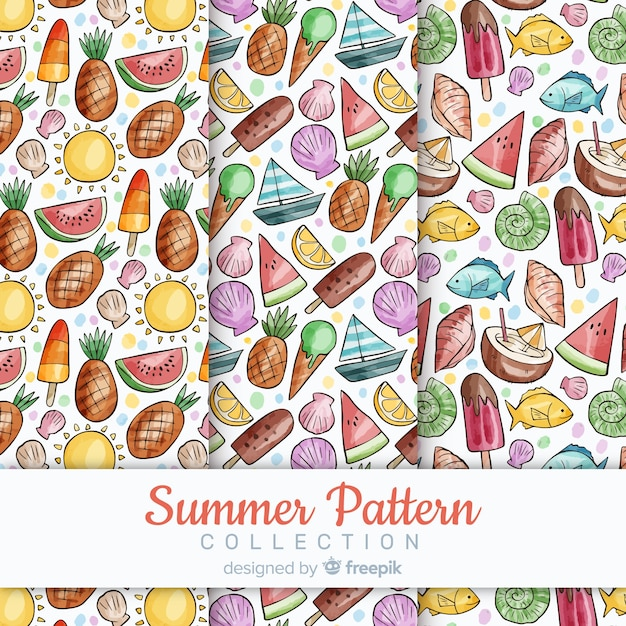 Watercolor summer pattern collectio Free Vector