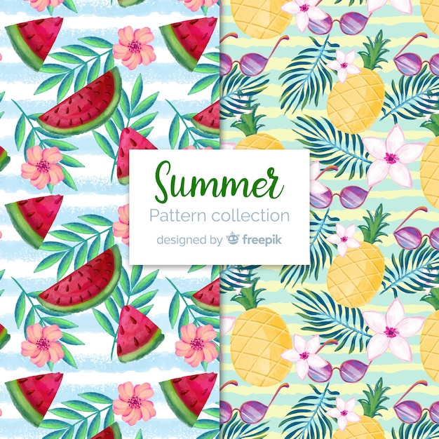 Watercolor summer pattern collection Free Vector