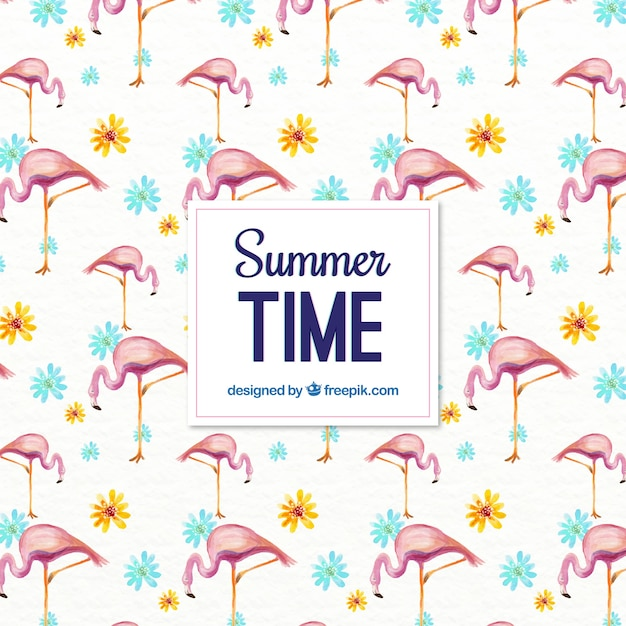 Watercolor summer pattern with flamingos and flowers Free Vector